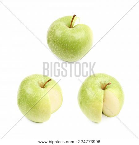 Measured portion of exactly hundred calories of the granny smith green apple isolated over the white background , set of several different foreshortenings