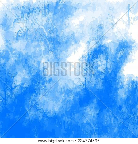 Abstract Blue Grunge Background. Stain in grunge style. Perfect for designing and decorating banners and flyers.