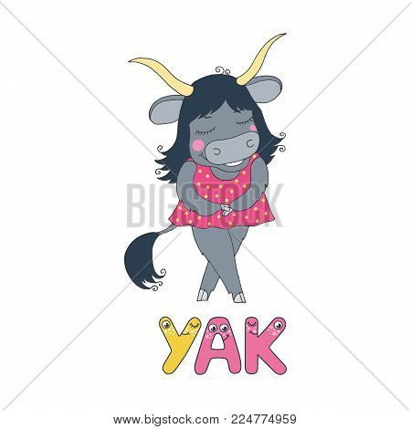 A cute yak dressed in pink. The letter Y and the word yak from the funny children's alphabet with the eyes. Vector illustration on the white background in cartoon style.