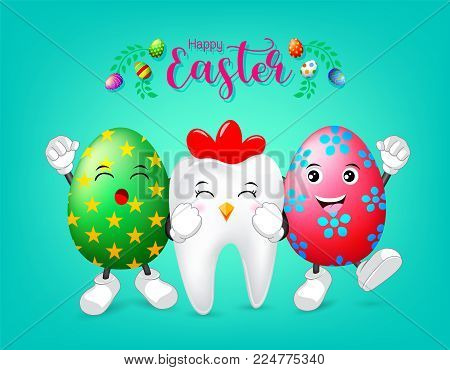 Hen tooth character with happy eggs of  Easter day. Dental Easter, illustration on green background.