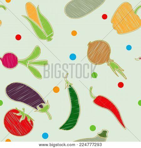 Vegetable set. Vector. Corn, onion, pepper, peas, chili, cauliflower, zucchini tomato pumpkin beet carrot potatoes Original styling of vegetables under embroidery. Pattern