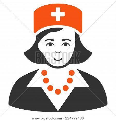 Nurse vector flat pictogram. Person face has glad sentiment.