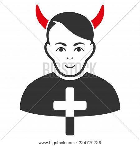 Satan Priest vector flat pictograph. Human face has glad sentiment.