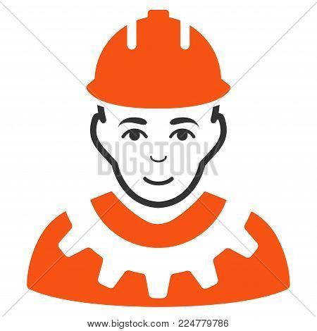 Serviceman vector flat pictogram. Human face has happy sentiment.