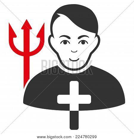 Satan Priest vector flat icon. Person face has joy emotion.