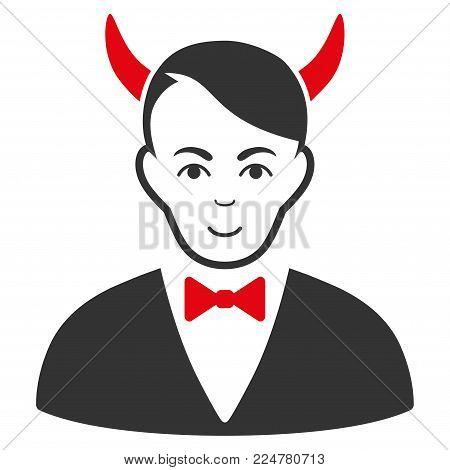 Satan vector flat pictograph. Human face has enjoy sentiment.