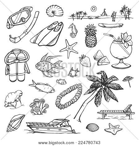 Vector collection of sketching diving, relaxing on the beach. Isolated drawings on white background