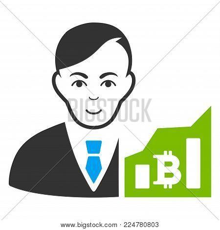 Bitcoin Trader vector flat pictograph. Person face has glad sentiment.