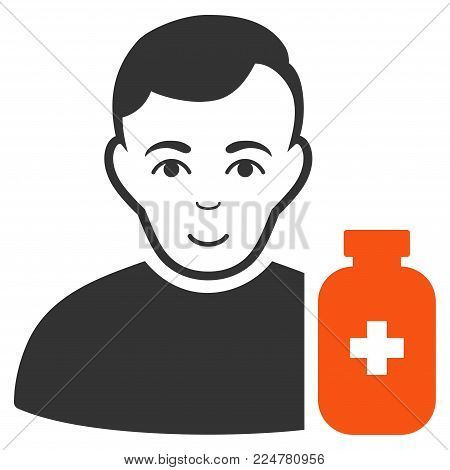 Medical Pharmacist vector flat pictogram. Human face has happiness feeling.