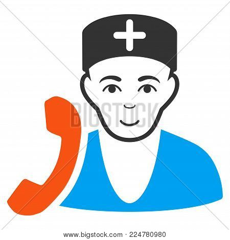 Medical Receptionist vector flat icon. Human face has happy emotions.