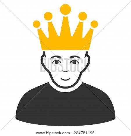 Moderator vector flat icon. Person face has smiling expression.