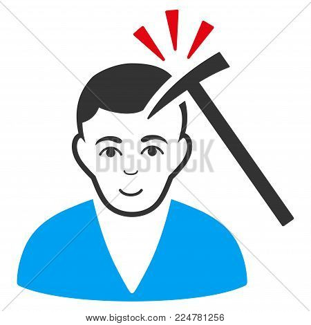 Murder With Hammer vector flat icon. Person face has enjoy feeling.