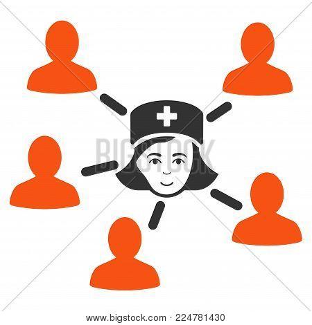 Nurse Linked Patients vector flat icon. Person face has enjoy sentiment.
