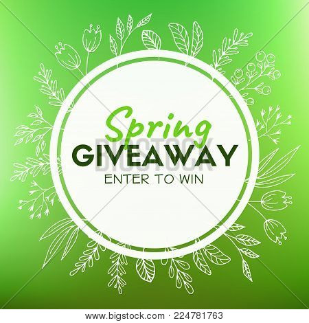 Spring giveaway. Promotional card for instagram and blogs