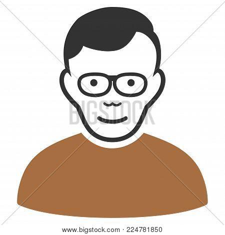 Pensioner vector flat pictogram. Human face has enjoy emotions.