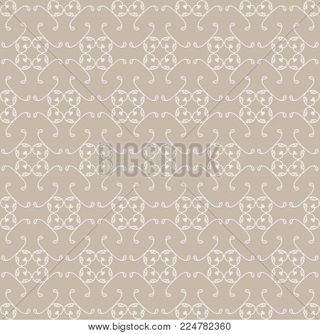 Off White And Cream Color Ordered Design Ornamental Swirl Background With A Brwon Shade Sand Base