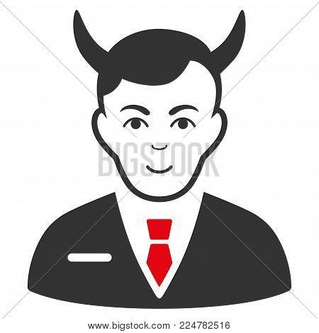 Satan vector flat pictograph. Human face has joyful emotions.