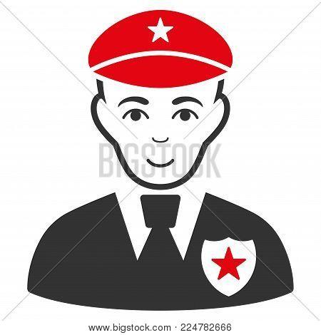 Sheriff vector flat pictogram. Human face has joy expression.