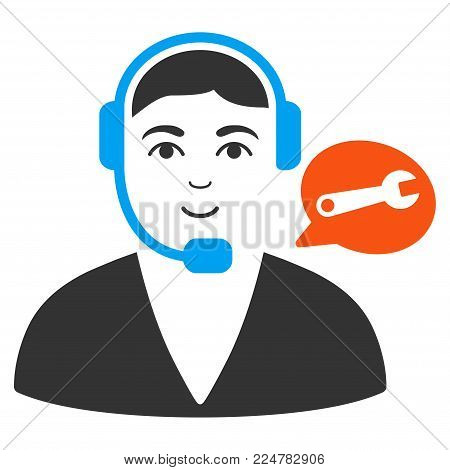 Support Center Operator vector flat pictogram. Person face has happy sentiment.