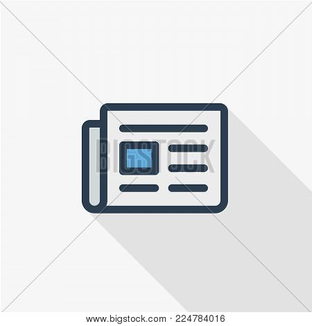 Newspaper, daily press, news content, article thin line flat color icon. Linear vector illustration. Pictogram isolated on white background. Colorful long shadow design.