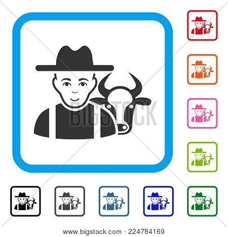 Smiling Cattle Farmer vector pictograph. Human face has enjoy mood. Black, grey, green, blue, red, orange color versions of cattle farmer symbol in a rounded rectangle.