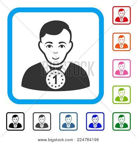 Enjoy Champion vector pictograph. Person face has gladness mood. Black, gray, green, blue, red, orange color versions of champion symbol in a rounded rectangular frame.
