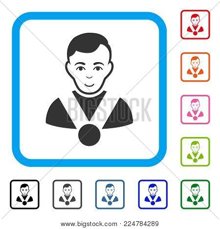 Enjoy Champion vector icon. Person face has smiling emotion. Black, gray, green, blue, red, orange color additional versions of champion symbol in a rounded squared frame.