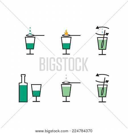 Preparation pictures of absinth liqueur. Vector illustration. poster