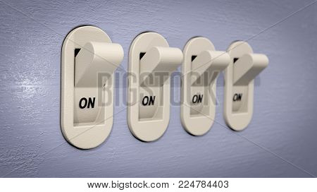 A 3D illustration showing 4 plastic switches, on a blueish-gray wall and in the ON position