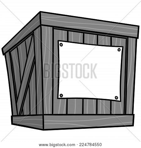 Crate Cartoon Illustration - A vector cartoon illustration of a warehouse Crate.