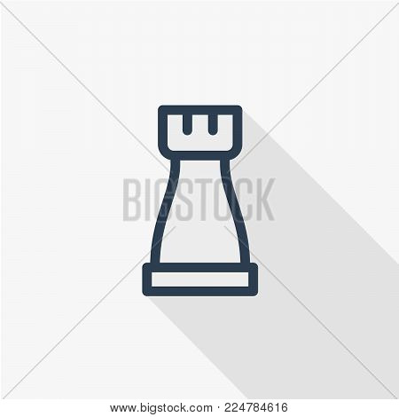 Chess rook, strategy thin line flat icon. Linear vector illustration. Pictogram isolated on white background. Colorful long shadow design.