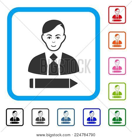 Cheerful Clerk vector pictogram. Human face has joyful mood. Black, grey, green, blue, red, pink color additional versions of clerk symbol inside a rounded rectangular frame.