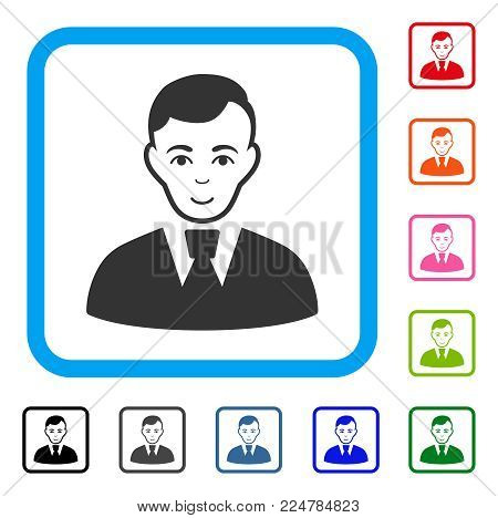 Glad Clerk Guy vector icon. Person face has cheerful emotion. Black, gray, green, blue, red, orange color versions of clerk guy symbol inside a rounded rectangle.