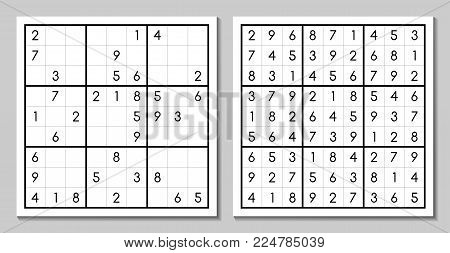 Sudoku with the answer. Vector puzzle game