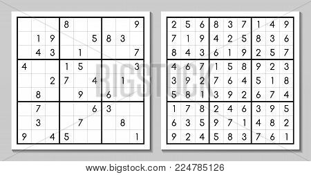 Vector sudoku with the answer. Japanese puzzle game