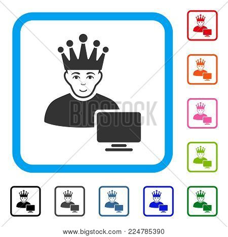 Happy Computer Moderator vector pictogram. Person face has cheerful emotions. Black, grey, green, blue, red, orange color variants of computer moderator symbol in a rounded square.