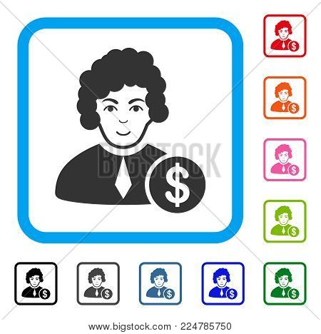Glad Corrupt Judge vector icon. Person face has happiness sentiment. Black, gray, green, blue, red, pink color versions of corrupt judge symbol in a rounded rectangle.