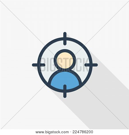 Headhunting, recruitment, resume search, job, selecting staff thin line flat icon. Linear vector illustration. Pictogram isolated on white background. Colorful long shadow design.