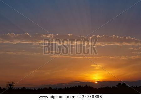 Sunset On Land, The Dawn On The Beach, Sunset And Dawn Hours