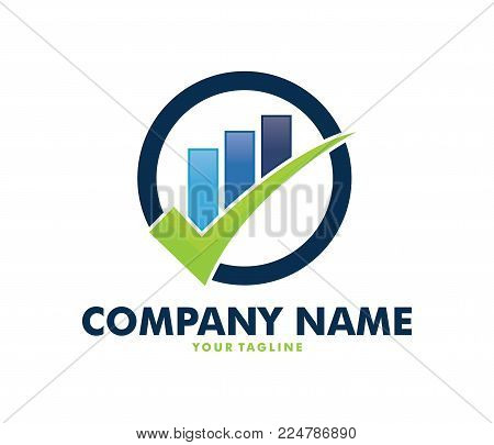 Vector Logo Design Info Graphic Of Line Bar Chart Of Financial Or Stock Exchange, Increase Profit, C