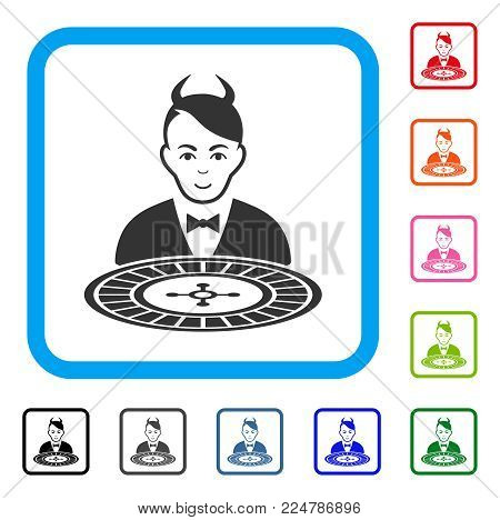 Enjoy Devil Roulette Dealer vector pictograph. Person face has smiling expression. Black, grey, green, blue, red, orange color versions of devil roulette dealer symbol in a rounded rectangle.