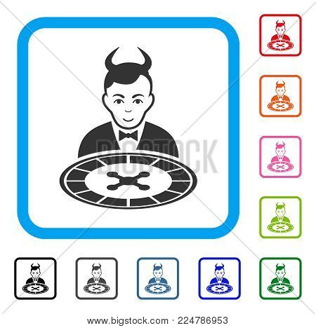 Smiling Devil Roulette Dealer vector icon. Human face has happy emotion. Black, grey, green, blue, red, orange color variants of devil roulette dealer symbol inside a rounded rectangular frame.