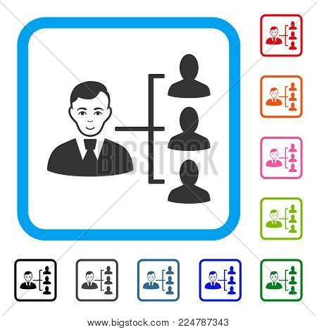 Enjoy Distribution Manager vector pictograph. Human face has happiness mood. Black, grey, green, blue, red, pink color additional versions of distribution manager symbol in a rounded frame.