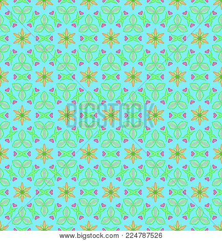 Green and orange flower with pink heart shape is seamless patterns can be used for wallpaper pattern fills and background. Valentine day concept.