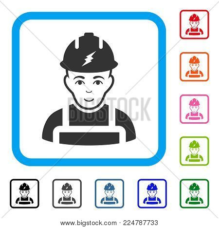 Happiness Electrician vector pictogram. Person face has happy emotion. Black, grey, green, blue, red, pink color versions of electrician symbol inside a rounded squared frame.