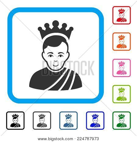 Joyful Emperor vector icon. Human face has joy expression. Black, grey, green, blue, red, orange color variants of emperor symbol in a rounded frame.