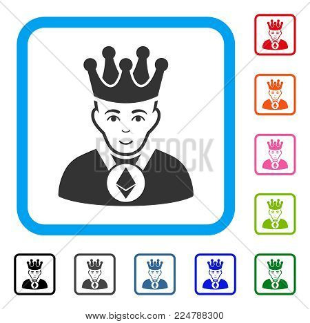 Gladness Ethereum Lord vector icon. Human face has glad mood. Black, gray, green, blue, red, pink color additional versions of ethereum lord symbol inside a rounded rectangular frame.