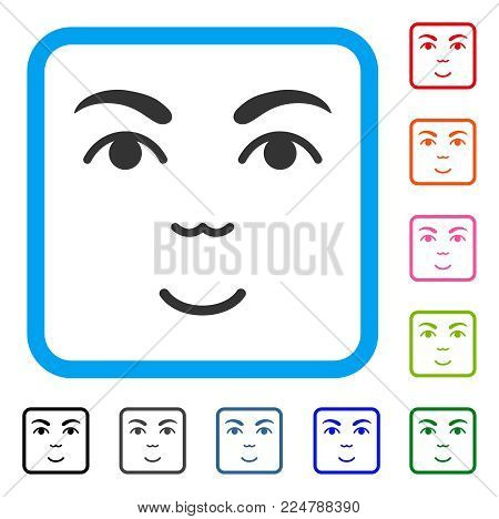 Glad Face vector icon. Person face has smiling emotion. Black, grey, green, blue, red, pink color variants of face symbol inside a rounded squared frame.