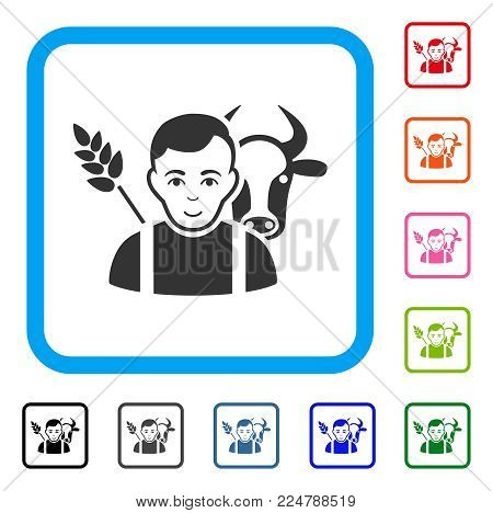 Happy Farmer vector pictogram. Human face has positive emotion. Black, gray, green, blue, red, pink color versions of farmer symbol in a rounded rectangle.