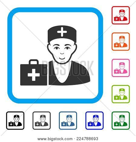 Joyful First-Aid Doctor vector pictograph. Person face has glad feeling. Black, gray, green, blue, red, pink color additional versions of first-aid doctor symbol inside a rounded frame.